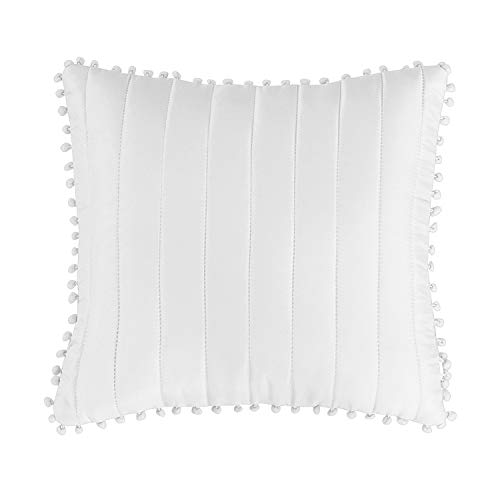 Prime Linens Inspiration Quilted Embossed Pattern Cushion Covers (Pom pom-White, Cushion Cover 45X45 cm)