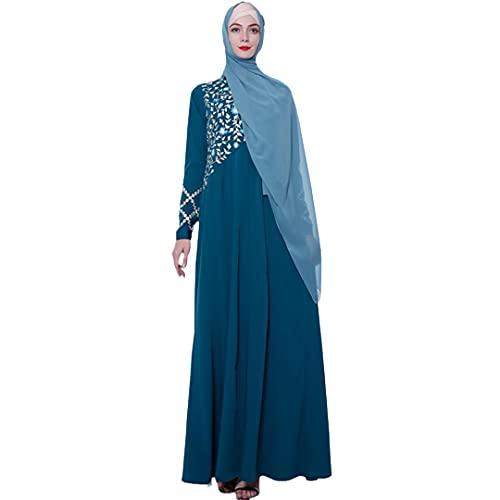 Bordado Abaya Dubai Maxi Vestido Musulmán Kaftan Mujeres Manga Larga Cóctel Jilbab Caftan Islamic Robe