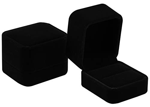 POKOFO Classic Velvet Engagement Ring Box Earring Jewelry Case Gift Box (Black)
