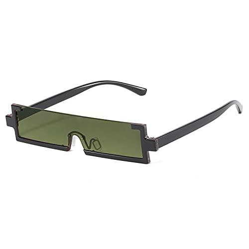Gafas De Sol Gafas De Sol Rectangulares De Moda para Mujer, Gafas De Sol De Medio Marco con Lente De Una Pieza, Gafas De Sol Cuadradas Pequeñas De Moda para Mujer, Gafas C2, Negro-Verde