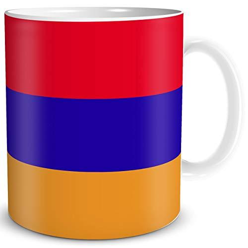 TRIOSK Tasse Flagge Armenien Länder Flaggen Geschenk Asien Souvenir Armenia für Reiselustige Frauen Männer Arbeit Büro Weltenbummler