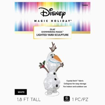 Gemmy Disney Magic Holiday - Olaf Shimmering Lighted Yard Sculpture - Frozen Indoor Outdoor Christmas Decoration