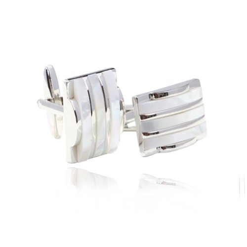 Digabi Men's Jewelry Classic Design Mother of Pearl Inlay and 18k Platinum Plated Smash Cufflinks Cuff for Men