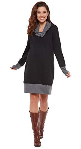 Be Mama - Maternity & Baby wear 2in1 Umstandskleid Winter mit Stillfunktion, Sweatkleid, Pulloverkleid, Modell: Nella, schwarz, L