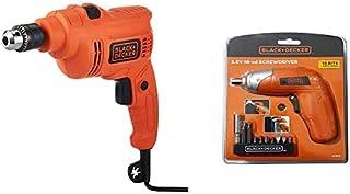 Black+Decker 550W 10mm Corded Electric Hammer Percussion Drill + Black+Decker 3.6V Li-Ion Cordless Power Screwdriver Kit w...