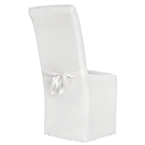 TecTake Stuhlhusse Stuhlüberzug Stuhlbezug mit Schleife - Diverse Farben - (Weiß)