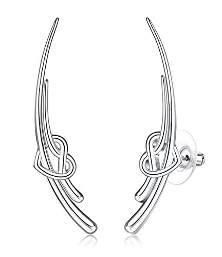 MUSECLOUD Celtic Knot Ear Crawler Earrings for Women 925 Sterling Silver Heart Love Cartilage Studs Helix Earrings Good Luck Climber Cuff Wrap Stud Earrings (White)