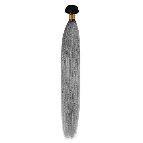 Beuaty7 Extension de Cheveux 100g Tissage Naturels Bresilien Noir Naturels au Grey #1B/gris Ombre Cheveux Humains Raides 20 Inch