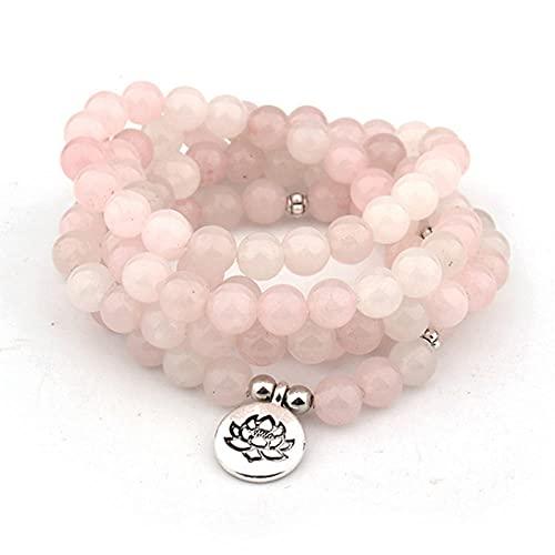 108 Pulsera de Mala para Mujeres Hombres Buddha Lotus OM Collar colgante o pulsera Crystal Yoga Oración Mala Warp Pulsera Joyería-Om plata