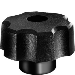 DimcoGray Black Thermoplastic Fluted Torque Knob Female, Brass Insert: 3/8-16