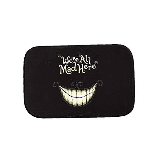 La Cara Sonriente Tapetes Antideslizante De Fibra De Poliéster Lavable Entrada Mat Decorativo Divertido Felpudo Felpudo Negro