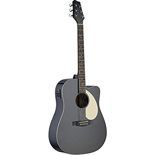 Stagg SA30DCE-BK Acoustic-Electric Dreadnought Guitar with Linden Top - Matte Black