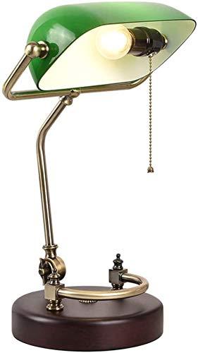 Schreibtischlampe Studie Büro Retro Klassische Schlafzimmer Nachtleselampe Grüne Starke Glasschirm Massivholz Birke Basis Verstellbare Lampe Pole Banker Tischlampe E27 Mit Zugschnurschalter
