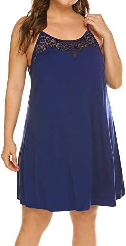 Women s Plus Size Nightgrown Sleepwear Lace Stain Sleeveless Chemise lounge Dress Navy Blue product image