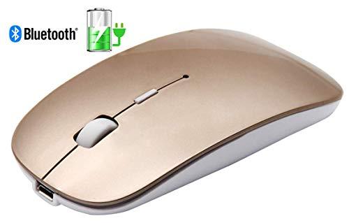 Tsmine Bluetooth Maus für Laptop, Schlanke Wiederaufladbare Bluetooth Mouse Kabellos Mäuse für Notebook, PC, Laptop, Computer, Windows/Android Tablet, iMac MacBook Air/Pro - Gold