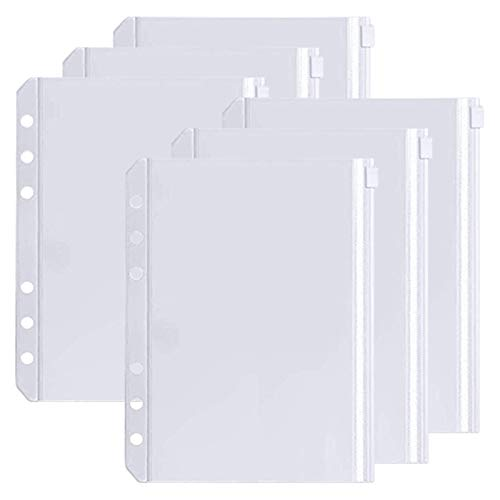 Skycase 6 PCS A6 Binder Pockets, 6-Hole Punched Zipper Binder Pocket, Waterproof PVC Pouch Document Filing Bags for 6-Ring Binder A6 Notebook