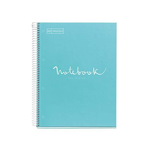 Miquelrius - Cuaderno Notebook Emotions - 1 franja de color, A4, 80 Hojas cuadriculadas 5mm, Papel 90g, 4 Taladros, Cubierta de Cartón Extraduro, Color Azul Cielo