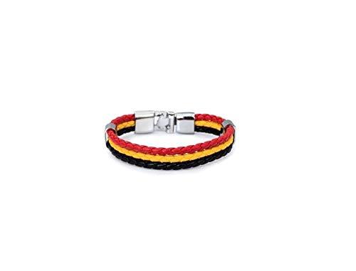 MYC-Paris - Bracelet Flag - Couleur Drapeau Belgique - Simili Cuir - Cadeau d'anniversaire, Evénements Sportifs, JO