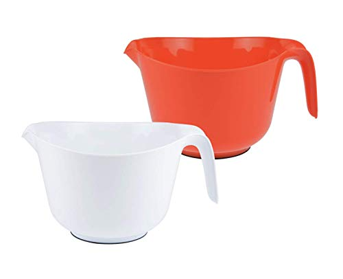 Osnell Lights USA Mixing Bowls for Kitchen – Plastic Mixing Bowls with Handles 2.5 Qt – Ideal for Mixing up Cakes, Mixing Sauces and Dips, for Food Prep & More – Set of 6
