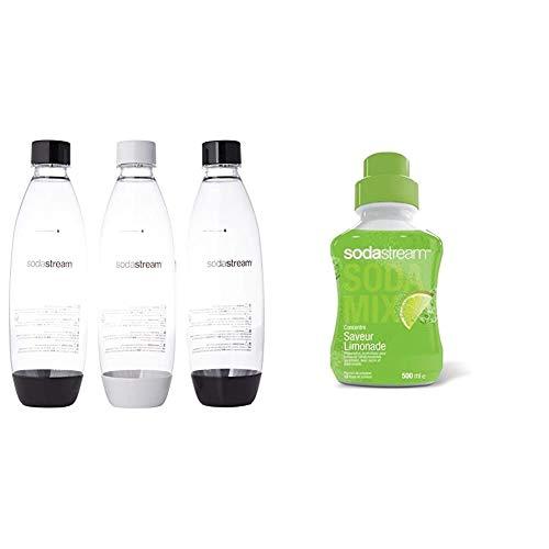 sodastream Pack 3 Bouteilles Pet, 1L Fuse, Blanc et Noir & Concentré Saveur Limonade 500ml