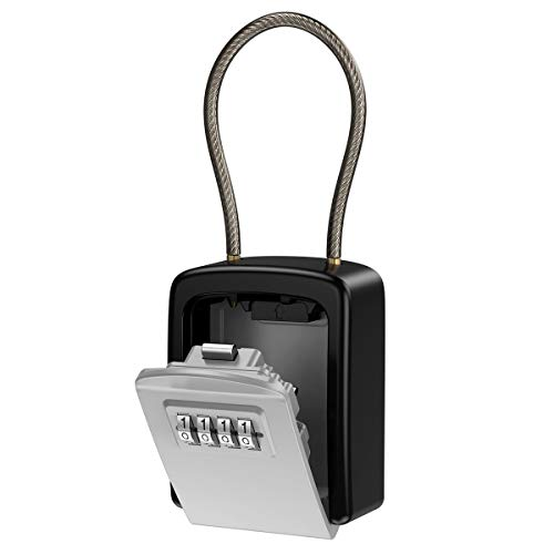 [New Version] KeeKit Key Lock Box, Key Safe Box with Removable Chain, Resettable Code Key Storage Lock Box Waterproof with 4 Digit Combination, 5 Key Capacity for Home, Warehouse, Indoor & Outdoor