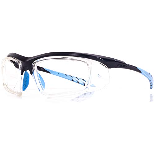 Astro II 0.75mm Pb Leaded Radiation X-Ray Protection Safety Glasses | Anti Reflective Fog Free Coating | 0.5mm Pb Lead Side Shields (Blue)