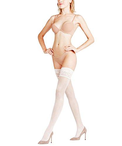 FALKE Damen Stay-Ups Seidenglatt 15 DEN, Transparente, Leicht Glänzend, 1 Stück, Weiß (Off-White 2059), Größe: 8.5-9