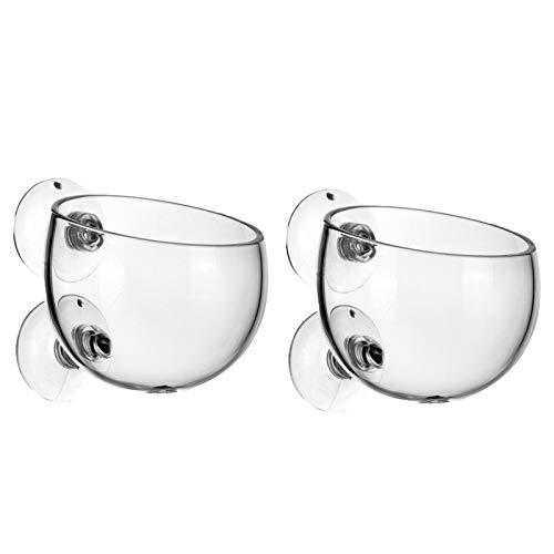 mellystore Vaso in Vetro per Piante e Pesci, 2PCS Vaso per Tazza in Vetro vegetale con 2 Ventose, Vetro Cristallo Acquario Acquatiche Piante Paesaggio Cup, Acquario Feeding Tazza di Vetro