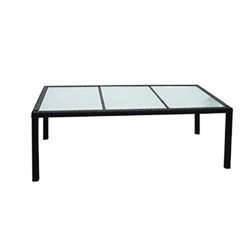 Festnight Gartentisch Esstisch Tisch Terrassentisch Polyrattan 190 x 90 x 75 cm Schwarz