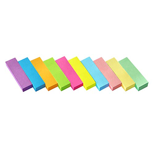 30 Pads 0.5x1.8 Sticky Notes Flags Tabs Page Markers 10 Bright Color Sticky Index Tabs Page Flags 80 Sheet/Pad