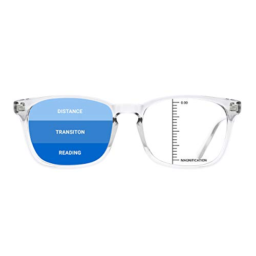 TIJN Vintage Square Progressive Multifocus Reading Glasses Anti Blue Light for Women Men Nerd Eyeglasses Readers