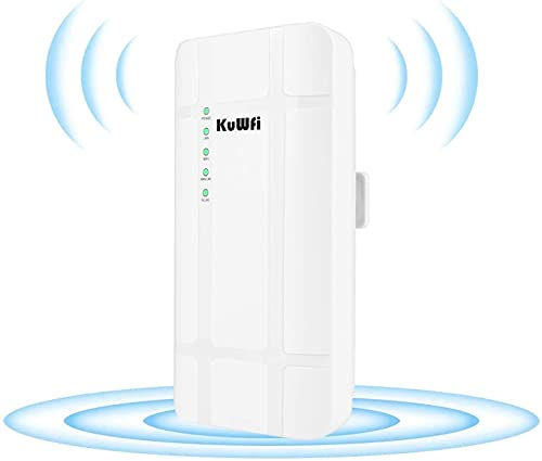 Router 4G SIM Router KuWFi 300 Mbps 4G LTE CPE Router with PoE Adapter Outdoor LTE Routers CAT4 with SIM Ranura Impermeable WiFi Router for IP Camera/Outside WiFi...