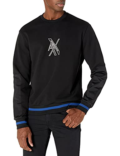 Armani Exchange AX Herren Rubberized Logo Pullover Sweatshirt, schwarz, XX-Large