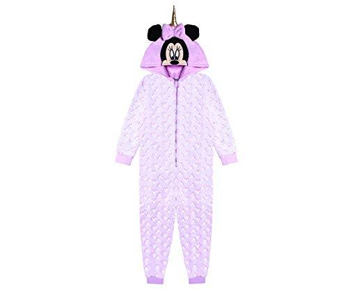 Disney Minnie Mouse und Einhorn Schlafstrampler für Mädchen, Schlafanzug Overall für Kinder, Strampelanzug mit 3D Kapuze, Im Dunkeln Leuchten Design, Geschenk für Mädchen! 9-10 Jahre