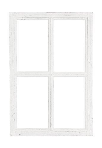 Nostalgie Holz Deko Fenster weiß gewischt 40 x 2 x 60 cm