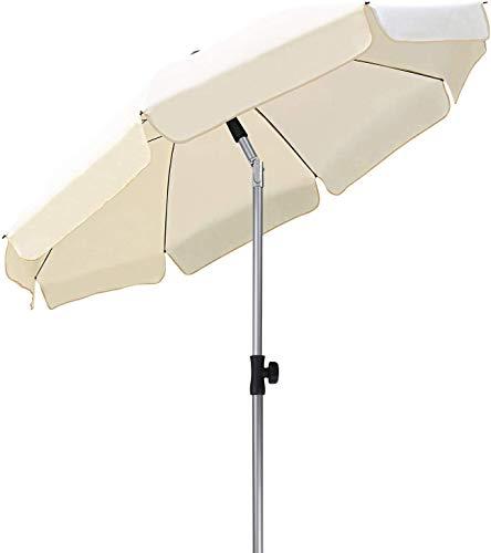 MVPower Ombrellone da Spiaggia, Ø 200 cm Ombrellone Rotondo UV UPF 50+, Ombrellone Inclinabile, Per Il Giardino Esterno Della Spiaggia Balcone, 200 g /m², Beige