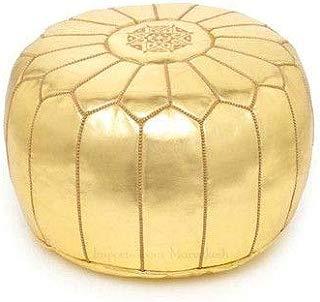 proudcrafts Premium Handmade Moroccan poufs Gold, Faux Leather, Pouf Ottoman Footstool unstuffed