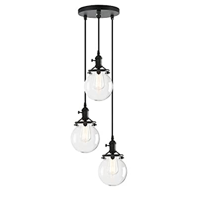 Pathson Island Chandelier Pendant Lighting Fixtures, 3 Lights Vintage Style Globe Clear Glass Shade Indoor Hanging Lights