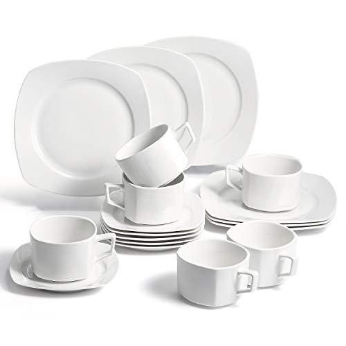 SUNTING Porzellan Kaffeeservice für 6 Personen. Neues Bone China Geschirrset Cremeweiß Kaffeegeschirr Set mit Kuchenteller Kaffeetassen Untertassen