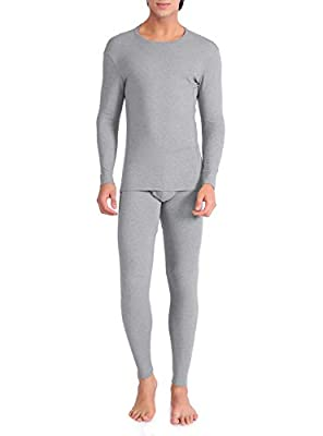 DAVID ARCHY Men's Ultra Soft Warm Stretchy Cotton Fleece Lined Base Layer Top & Bottom Thermal Set Long John with Fly (M, Heather Light Gray)
