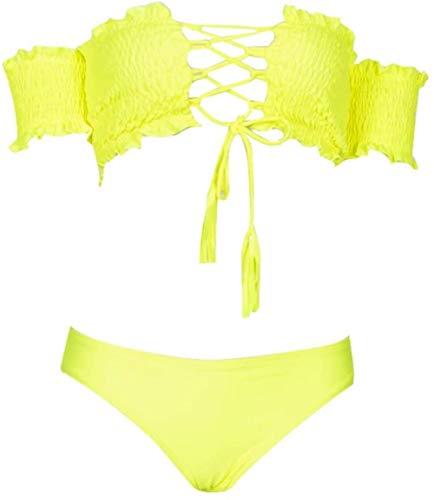 Sexy vrouwen split zwembroek, one-shoulder badpak, dames geplooide bikini, tweedelig pak, stevige borst, kant-up zwembroek, Maat: XL, Kleur: blauw (Color : Yellow, Size : S)