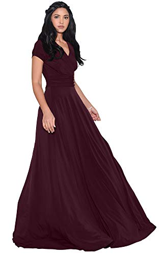 KOH KOH Womens Long Cap Short Sleeve V-Neck Flowy Cocktail Slimming Summer Sexy Casual Formal Sun Sundress Work Cute Gown Gowns Maxi Dress Dresses, Maroon Wine Red L 12-14
