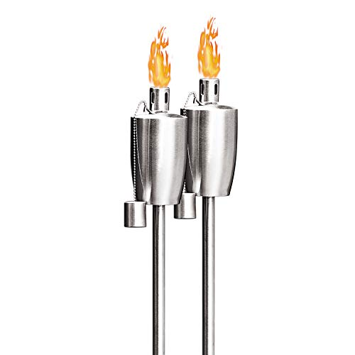 FAB BASED Oil Torch Lamp Torch for Patio/Garden/Lawn/Backyard - 55 inch - Stainless Steel - Fiber Glass Wick - Set of 2 Pieces-Outdoor Oil Lamp for Citronella
