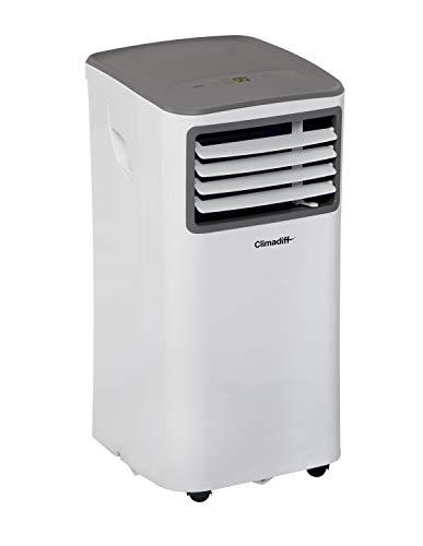 CLIMADIFF - Climatiseur Mobile CLIMA9K1-3 en 1 avec Fonction Climatiseur Déshumidificateur et Ventilateur - Programmable 24h - 2 Vitesses - Filtre Lavable - 9 000 BTU - Couvre Entre 18m² et 27m²