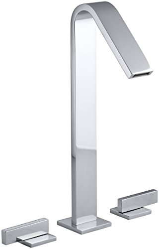 KOHLER K-14662-4-CP Loure Tall Widespread Bathroom Sink Faucet, Polished Chrome