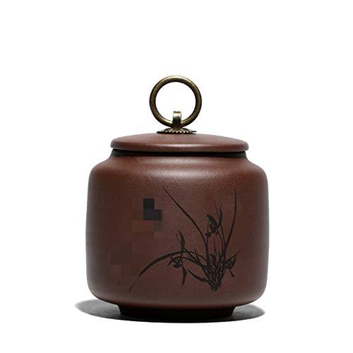 Zhicaikeji Caddy de Té Clay Purple Plum Orchid Bamboo Chrysanthemum Tea Caddy Pequeño Té Caddy Creative Regalo para Café Té (Color : Marrón, Size : 10x10.5cm)