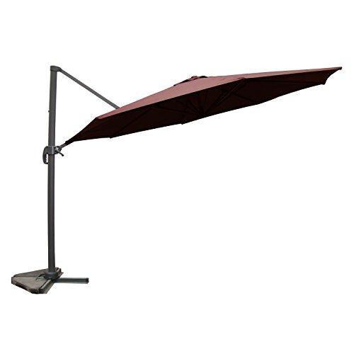 JFB Vivaro Chocolat : Parasol déporté, Rond Ø 350cm, Rotatif à 360°