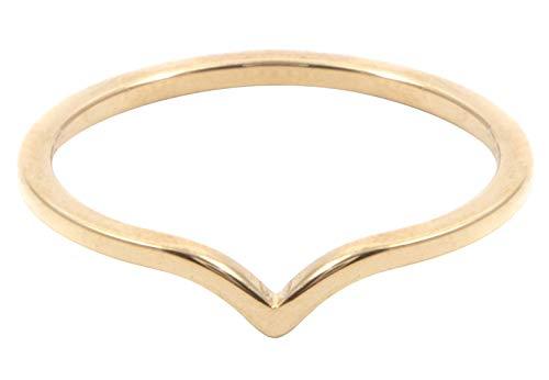 Happiness Boutique Damen Bandring mit Welle in Goldfarbe | Zarter Minimalist Ring Edelstahlschmuck