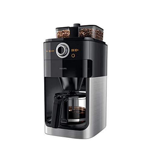 LJHA kafeiji Amerikanische Kaffeemaschine, Kaffeemaschine für Zuhause, Vollautomat, Doppelbohnentrog, automatische Kaffeebohnenmaschine, Kaffeereserve, Einknopfbedienung, 212mm × 277mm × 440mm, silbe