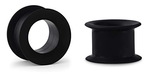 Crazy Factory® 2 dilatadores de silicona | 10 mm | negro + piercing + oreja + barato + Basic + Top calidad